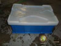 Barquillas plástico color azul 600mm x 400 mm x 250 mm con tapa
