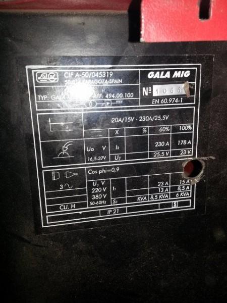 Metal soldadura solcar galagar gala mig 260 - Equipo soldadura electrica ...
